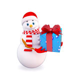Snow man carrying gift Stock Images