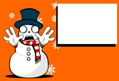 Snow man cartoon xmas background2 Stock Photos
