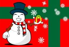 Snow man cartoon xmas background3 Royalty Free Stock Image