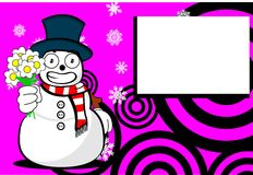 Snow man cartoon xmas background5 Royalty Free Stock Photo