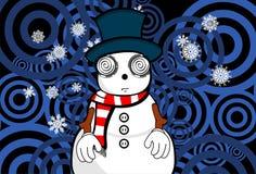 Snow man cartoon xmas background01 Royalty Free Stock Photo