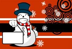 Snow man cartoon xmas background02 Stock Photography