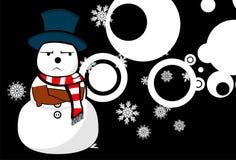 Snow man cartoon xmas background03 Royalty Free Stock Image