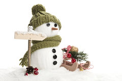 Snow man. With christmas decoration Stock Photography
