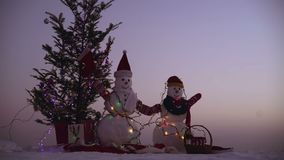 Snow man with Christmas gift on snow. Two snow men standing in winter Christmas landscape.  stock video footage