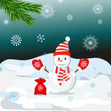 Snow Man in christmas in hat. Stock Photos