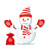 Snow Man in christmas in hat. Royalty Free Stock Image