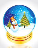 Snow man with christmas tree Stock Images