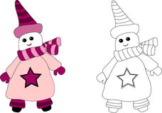 Snow man is coloration Royalty Free Stock Photo