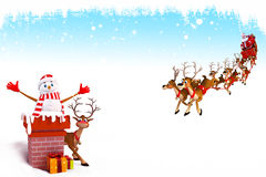 Snow man coming out of chimney with sleigh Royalty Free Stock Images