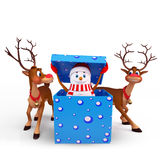 Snow man is coming out of gift box with reindeer Royalty Free Stock Photos