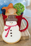 Snow man cookie Stock Image