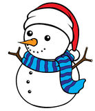 Snow Man. Cute cel-shaded flat vector cartoon illustration of a snow man Stock Photos