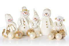 Snow man family Stock Photos