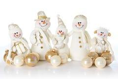 Snow man family Stock Photos