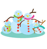 Snow Man Family Royalty Free Stock Photography