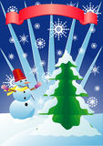 Snow man and fir-tree. Snow man fir-tree and banner  illustration Royalty Free Stock Image