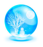 Snow man with full moon in blue crystal ball Stock Photo