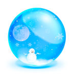 Snow man with full moon in blue crystal ball Stock Photography