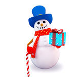Snow man with gift box Royalty Free Stock Photo