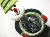 Snow man gifts. A happy snow man with a christmas gifts stock images