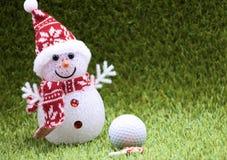 Snow man and Golf ball on X`mas time