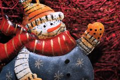 Snow-man is greeting... Royalty Free Stock Images