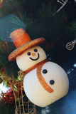 Snow man hanging on the Christmas tree. Royalty Free Stock Photography