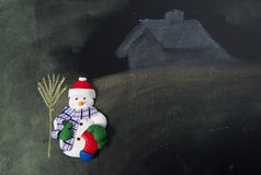 Snow man with his broom in front of house Stock Photos