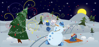 Snow man making firework banner. Snow man making firework in the night  banner Stock Photo