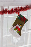 Snow man. New year toy window holiday red line Christmas Stock Photography