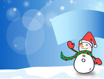 Snow man over snowy hill Royalty Free Stock Photography