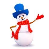 Snow man pointing towards blank Stock Photo