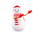 Snow man pointing towards blank Royalty Free Stock Photo