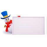 Snow man pointing towards sign Stock Photos