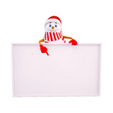Snow man pointing towards white sign Royalty Free Stock Photo