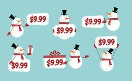 Snow man price tag Stock Photos