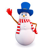 Snow man says bye Stock Photos