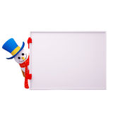 Snow man with sign Stock Photo