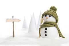 Snow man. With a sign in a artificial winter landscape Stock Photos