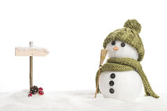 Snow man. With a sign in a artificial winter landscape Stock Photography