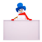 Snow man is sitting with white sign Stock Photos