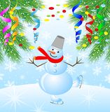 Snow man on skates and branches of christmas tree Royalty Free Stock Photo