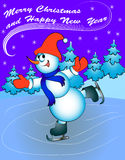 Snow man on skates with congratulations Royalty Free Stock Image