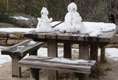 Snow Man and Snow Lady Stock Image