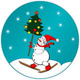 Snow man sticker. Sticker with cartoon snow man and a Christmas tree stock illustration