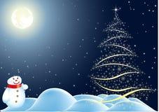 Snow man under moon. Snow man near Christmas tree under moon and stars Royalty Free Stock Photography