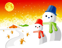 Snow man vector. Happy Snow man with background Vector Illustration