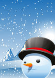 Snow Man. Vector illustration of a snow man on the winter background Stock Photos