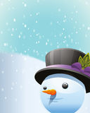 Snow Man. Vector illustration of a snow man on the winter background Royalty Free Stock Photo